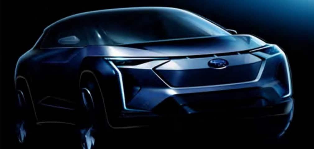 aperçu abstrait du premier véhicule Subaru électrique teinture noir et bleu fonçé